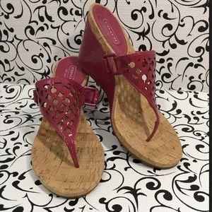 Coach Brook Fuchsia T-Thong Sandals